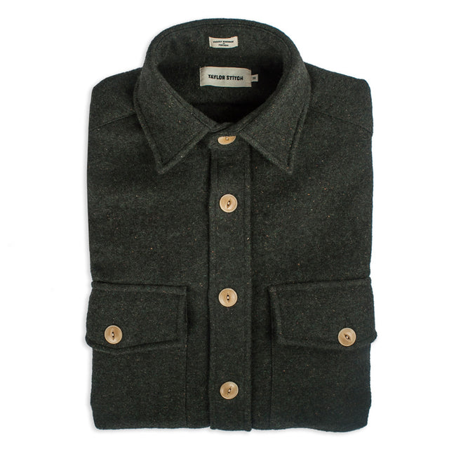 The Maritime Shirt Jacket in Moss Donegal Wool