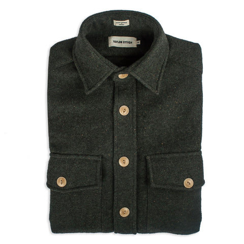 The Maritime Shirt Jacket in Moss Donegal Wool - featured image