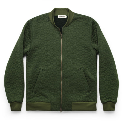 The Inverness Bomber in Olive Knit Quilt