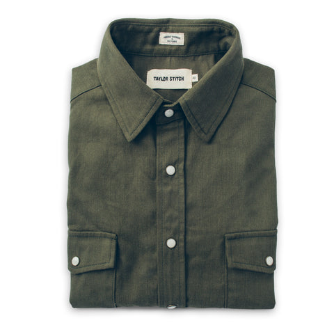 The Glacier Shirt in Olive Twill - featured image