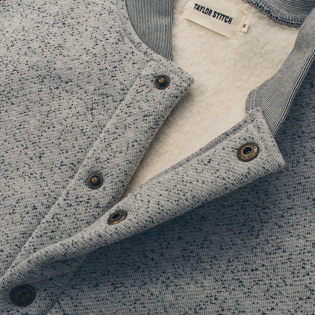 The Bomber in White Fleck Fleece
