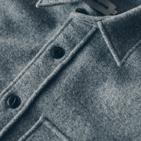 The Maritime Shirt Jacket in Ash Donegal Lambswool - alternate view