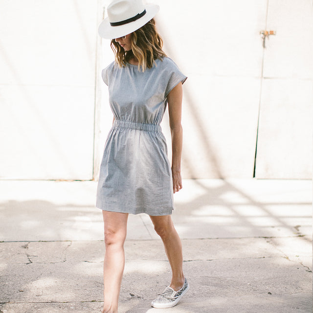 The Mira Dress in Charcoal Cotton