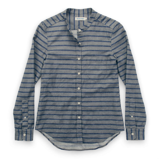 The Piper Shirt in Ash & Navy Stripe Flannel