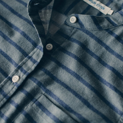 The Piper Shirt in Ash & Navy Stripe Flannel - alternate view