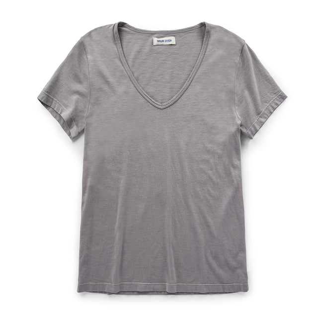 The Elle V-Neck Tee in Heather Grey