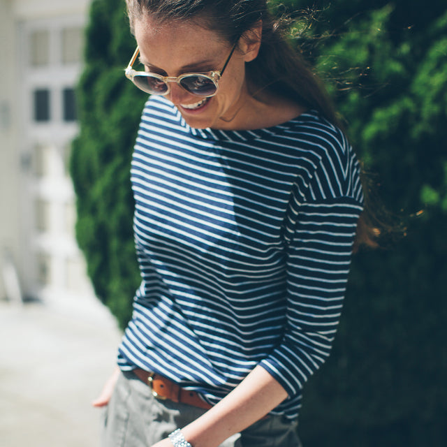 The Paige in Indigo & White Stripe