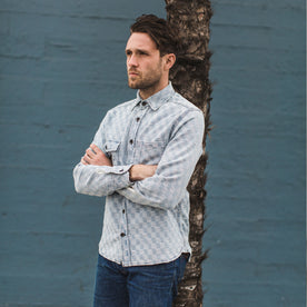 The Utility Shirt in Washed Indigo Jacquard: Alternate Image 1