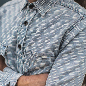 The Utility Shirt in Washed Indigo Jacquard: Alternate Image 2