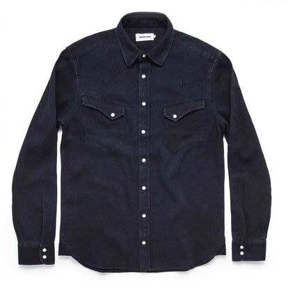 The Western Shirt in Indigo Crepe: Alternate Image 11