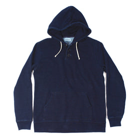 Indigo 3 Button Hooded Sweatshirt: Featured Image