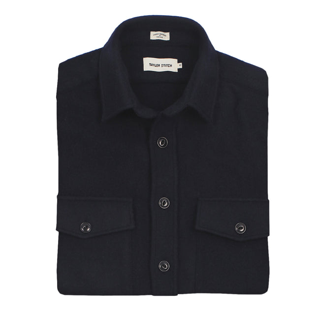 The Maritime Shirt Jacket in Navy Melton Wool