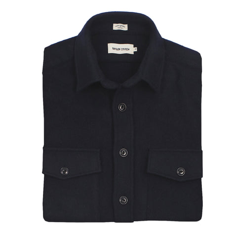 The Maritime Shirt Jacket in Navy Melton Wool - featured image