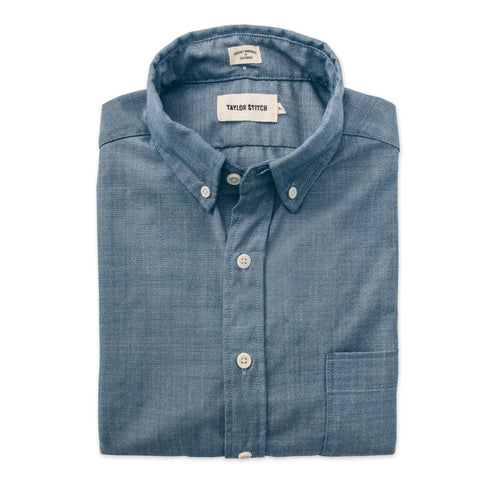 The Short Sleeve Jack in Blue Merino 4S Chambray - featured image
