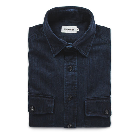 The Maritime Shirt Jacket in Sea Washed Indigo - featured image