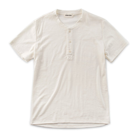 The Short Sleeve Henley in Natural Merino - featured image