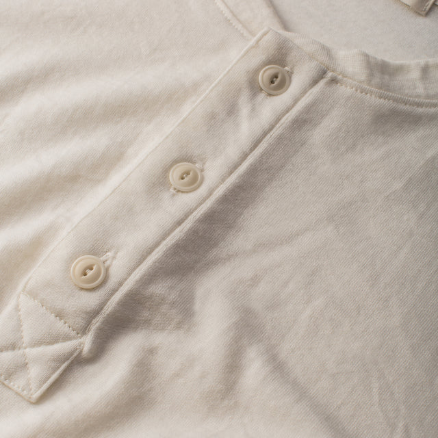 The Short Sleeve Henley in Natural Merino