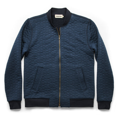 The Inverness Bomber in Navy Knit Quilt