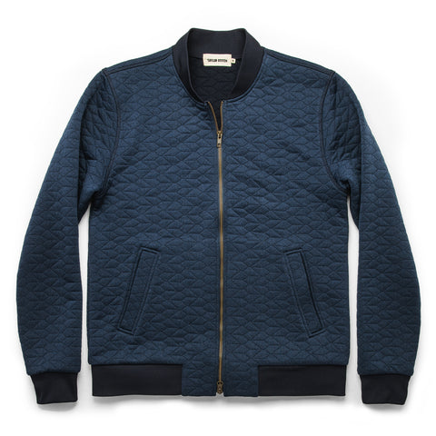 The Inverness Bomber in Navy Knit Quilt - featured image