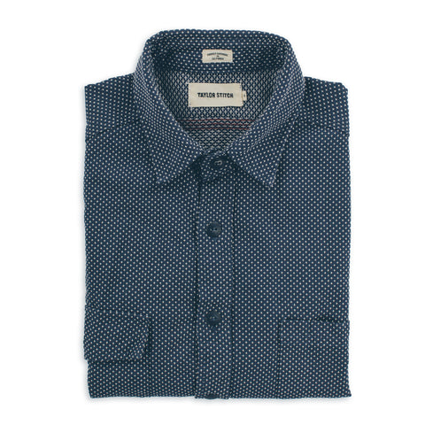 The Utility Shirt in Indigo Cross Jacquard - featured image