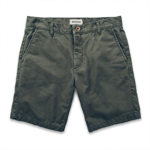 The Camp Short in Washed Olive Drab Herringbone - featured image