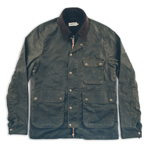 The Rover Jacket in Dark Olive Waxed Cotton - featured image