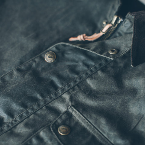 The Rover Jacket in Dark Olive Waxed Cotton - alternate view