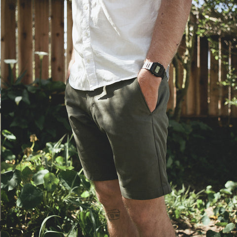 Traveler Shorts in Olive Twill - alternate view