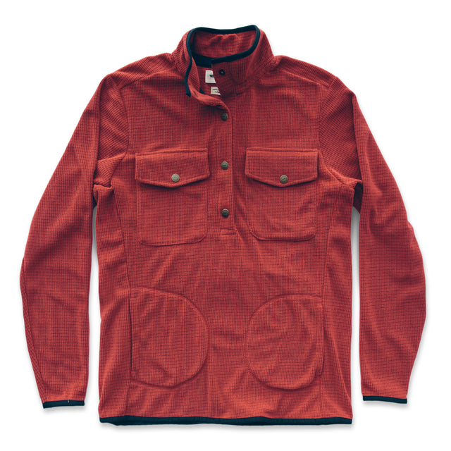 The Pack Pullover in Red Polartec Fleece