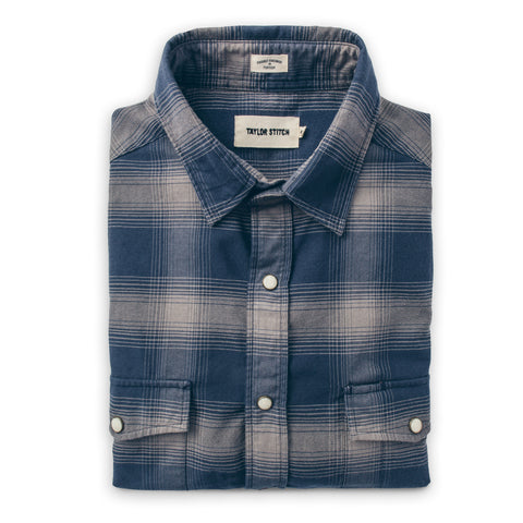 The Glacier Shirt in Navy & Grey Shadow Plaid - featured image