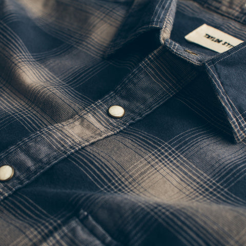 The Glacier Shirt in Navy & Grey Shadow Plaid - alternate view