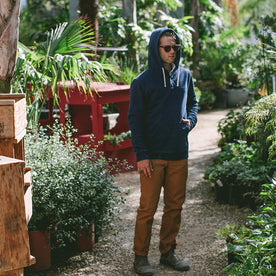 Indigo 3 Button Hooded Sweatshirt: Alternate Image 6