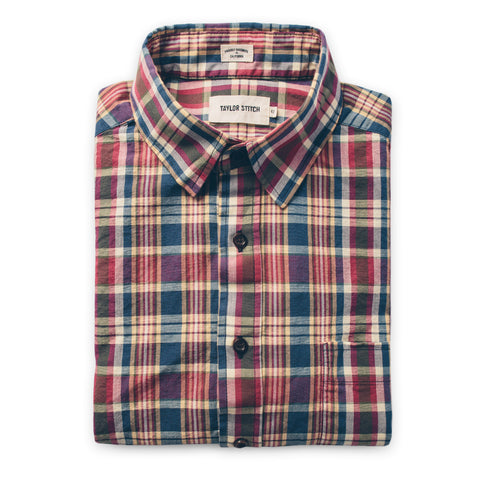 The Short Sleeve California in Red Madras - featured image