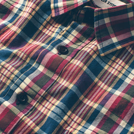 The Short Sleeve California in Red Madras: Alternate Image 6