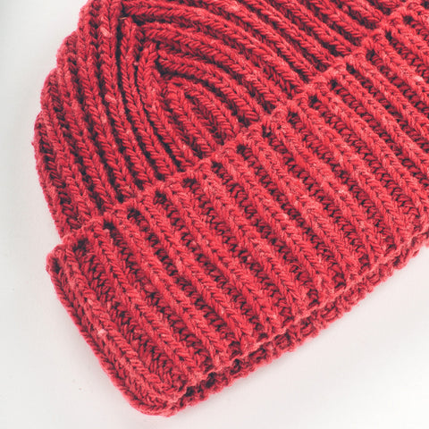 The Merino Wool Beanie in Dusty Red - alternate view