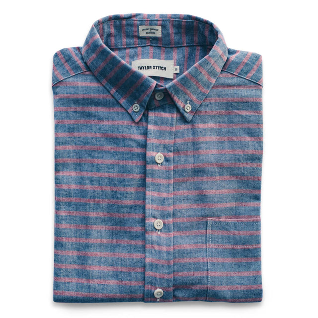 The Short Sleeve Jack in Red & Navy Stripe