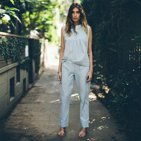 The Isla Pant in Seafoam Striped Cotton: Alternate Image 1