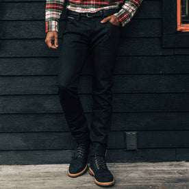 our fit model wearing The Slim Jean in Black Selvage