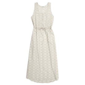 The Venice Dress in Natural and Indigo Jacquard: Featured Image