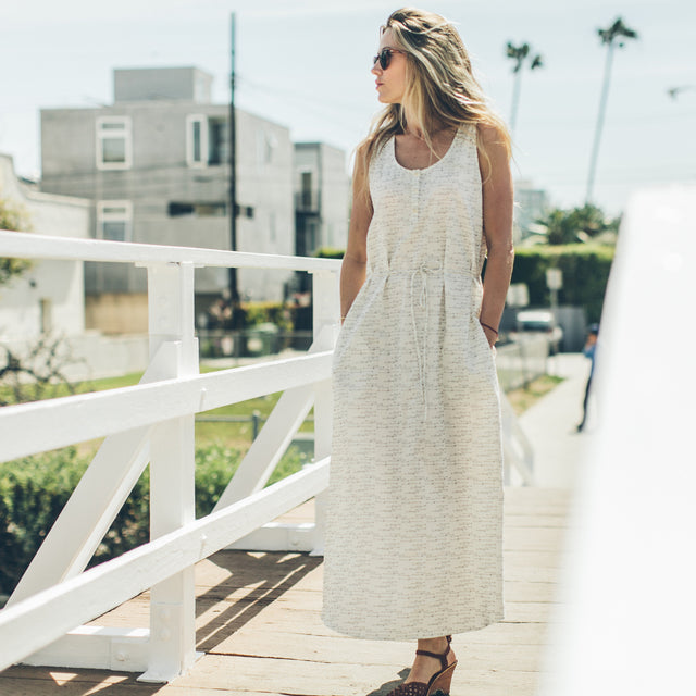 The Venice Dress in Natural and Indigo Jacquard