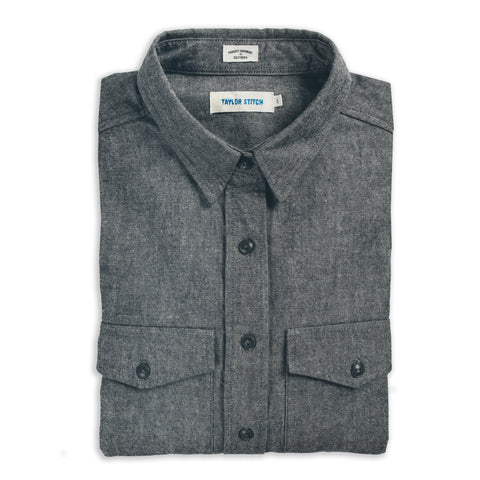 The Studio Shirt in Charcoal Everyday Chambray - featured image