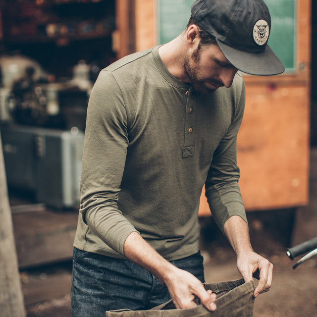 The Merino Henley in Army