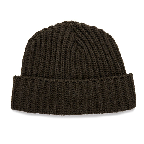 The Beanie in Dark Olive Merino - featured image