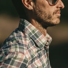 Our fit model wearing The California in Watermelon Madras.