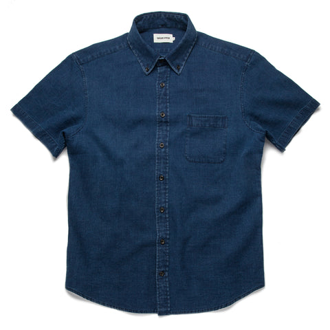 The Short Sleeve Jack in Mini Indigo Waffle - featured image