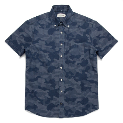 The Short Sleeve Jack in Indigo Jacquard Camo: Featured Image