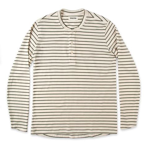 The Mercerized Merino Henley in Forest Stripe - featured image