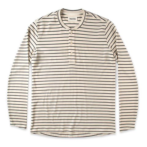 The Mercerized Merino Henley in Navy Stripe - featured image