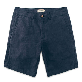 The Maritime Short in Navy Linen Herringbone: Featured Image