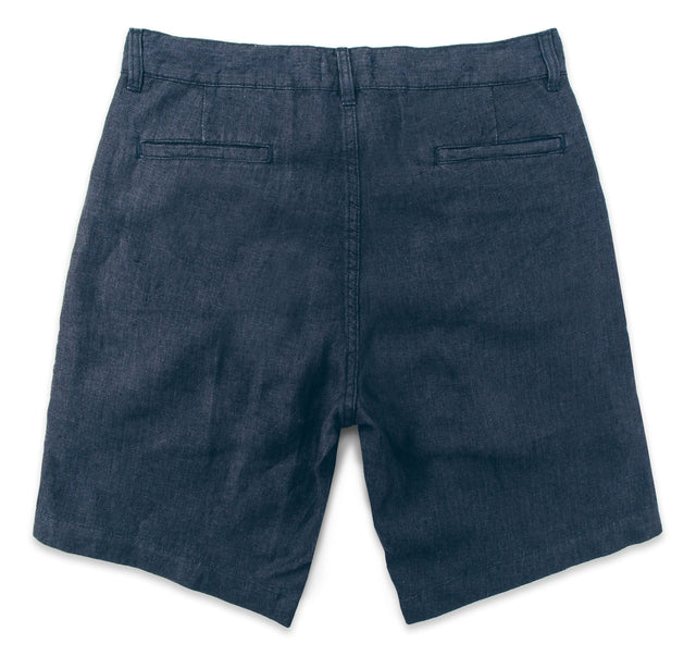 The Maritime Short in Navy Linen Herringbone